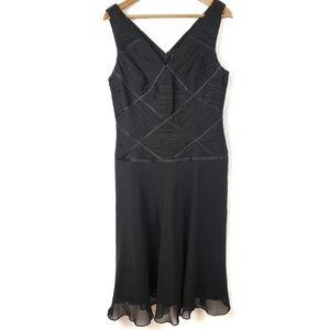 Adrianna Papell Black Flowy Criss Cross  Dress 14